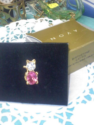 "Avon ""Birthstone Cat Pin - October Simulated Rose Zircon"" goldtone New in box"