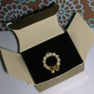"Avon ""Pearlesque Wreath Pin"" faux pearls on goldtone New in box"