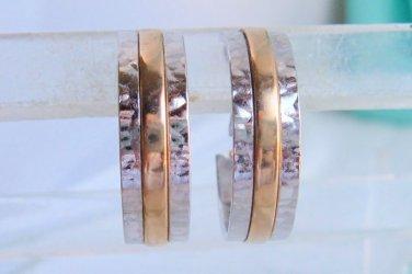 "Avon 1978 ""Sleekline Hoop Pierced Earrings"" in silvertone and goldtone - NEW"