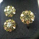 "Avon ""Sun Brilliants"" peridot green on goldtone ring and clip earrings set 1974"