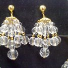 Avon clear faux crystal chandelier pierced earrings on goldtone from 1992