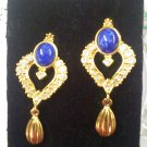 Avon Faux LAPIS LAZULI and rhinestone on goldtone pierced dangle earrings