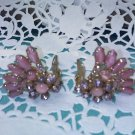 Lavender pink and mauve rhinestone and marbled stone fan style clip earrings