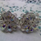 Aurora Borealis crystal bead clip earrings vintage from Germany