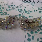 Aurora Borealis crystal bead extra tall crescent clip earrings