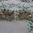 Laguna Aurora Borealis crystal bead extra tall crescent clip earrings