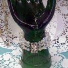 Aurora Borealis crystal bead three strand bracelet with rhinestone clasp