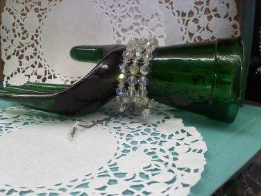 Sparkling Aurora Borealis Crystal Wrap Wire Triple Strand Bracelet