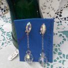 Aurora Borealis crystal dangle clip on earrings by Lewis Segal of California