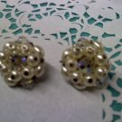 Laguna faux pearl and Aurora Borealis crystal beads clip earrings