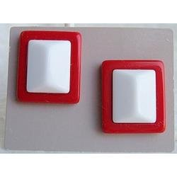 """Avon """"Classic Lines"""" red and white plastic geometric shaped pierced earrings from 1989"""