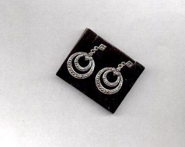 """Avon faux Marcasite silvertone pierced earrings """"Hoop to Hoop"""" 1995"""