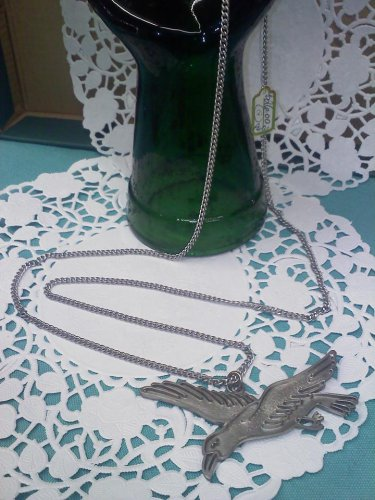 Cathedral Genuine Pewter seagull pendant on a 30 inch long chain vintage necklace 1970's