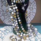 4 strand Lucite Confetti, faux agate stone and marble... necklace with clip earrings - Japan