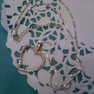Things Remembered silver open heart necklace with CZ rhinestones