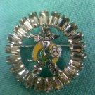 Daughters of the Nile Shriner/Freemason rhinestone pin - vintage enamaled moon and rose