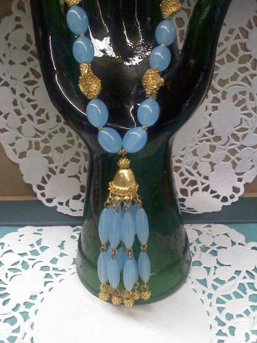 "Jewels By Trifari Crown Trifari Blue and gold ""Suspended Animation"" Tassel Necklace book piece 1962"