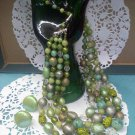 4 strand art glass, Lucite, faux marble confetti... necklace with screwback earrings - Japan