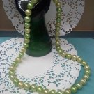 Pop bead Necklace with green and pale green pop beads 1950's Jewelry