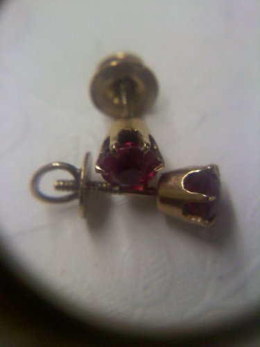 Ostby & Barton 10k gold and ruby threaded screw post antique pierced earrings