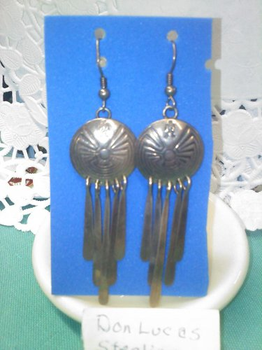 handmade - hand crafted - sterling silver southwest design dangle pierced earrings