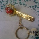 Kings Key finder 1950's coral agate color clip - Vintage key ring chain on purse clip or ID holder