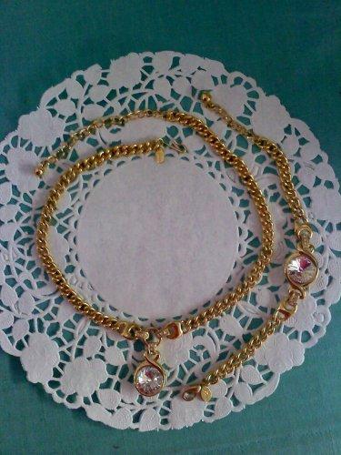 "Princess House ""Luminess"" Swarovski Crystal and goldtone necklace with bracelet set"