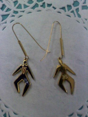 Laurel Burch tribal man pierced earrings - long wire