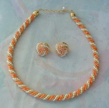 coral color and faux pearl on goldtone twist necklace and pierced earrings set