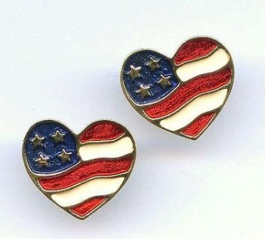 "Avon ""Heart of America"" red white and blue on goldtone pierced earrings"