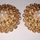 Avon faux pearl cluster on goldtone dome clip earrings