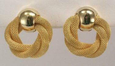 Avon Golden Weave goldtone clip earrings
