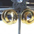 Monet pierced earrings shiny double ovals goldtone