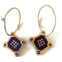 Laurel Burch red enamel design on hoops pierced earrings - gold color