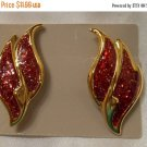 Avon red glitter enamel flame or wing shaped vintage pierced earrings on goldtone
