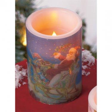 Flameless LED Christmas Santa Candle plays Christmas Carols