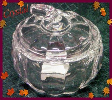 Crystal Covered Pumpkin Jar-Trick or Treat Pumpkin Dish-Lenox Gorham