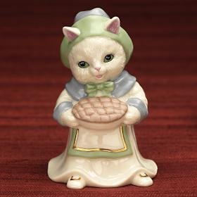 Lenox Gather & Share Figurine-Lenox Thanksgiving, Pilgrim Cat Figurine