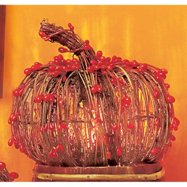 Orange Beaded Rattan Pumpkin-Lighted Decoration for Halloween-7 inch