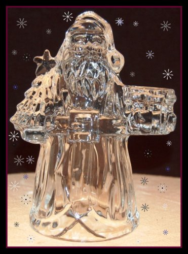 Holiday Elegance Santa Candleholder-USA Lead Crystal by St. George