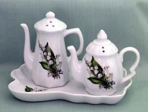 Lily of the Valley Teapot Salt & Pepper Set - Fielder Keepsakes