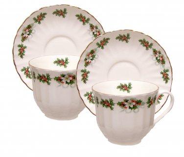 Holly Wreath Teacups & Saucers Set-Heirloom Bone China-Set of 2