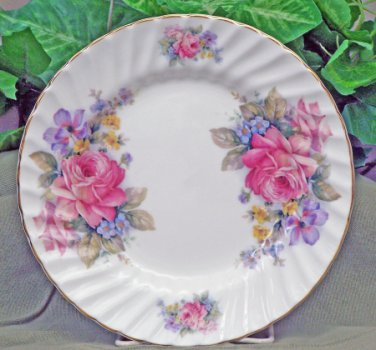 Festive Rose Dessert/Luncheon Plates-Heirloom English Bone China