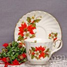 Poinsettia & Pine Teacups & Saucers Set-Heirloom Bone China-Set of 2
