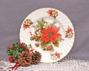 Poinsettia & Pine Plates-Heirloom Bone China-Set of 2