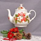 Poinsettia & Pine 6 Cup Bone China Teapot-Heirloom Collection
