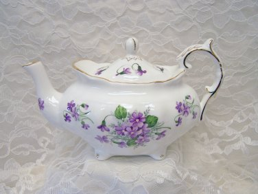 Berta Hedstrom Bone China Exclusive-Elizabeth Grey Violets Teapot