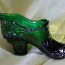 Mosser Glass Hunter Green Bow Slipper-Victorian Style-American Made