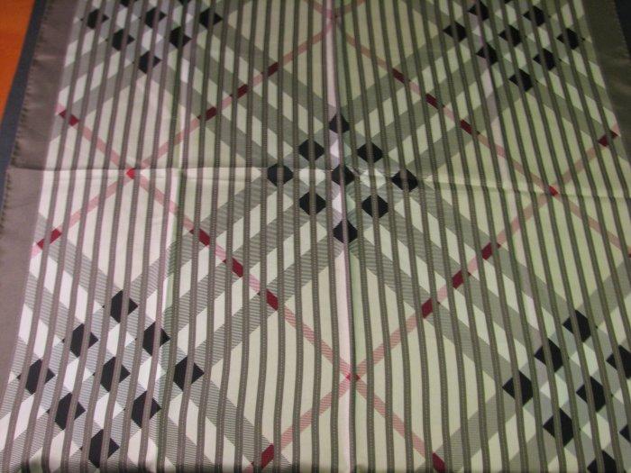 NWT Burberry 100% Silk  Check Scarf w/ Solid Grey Border