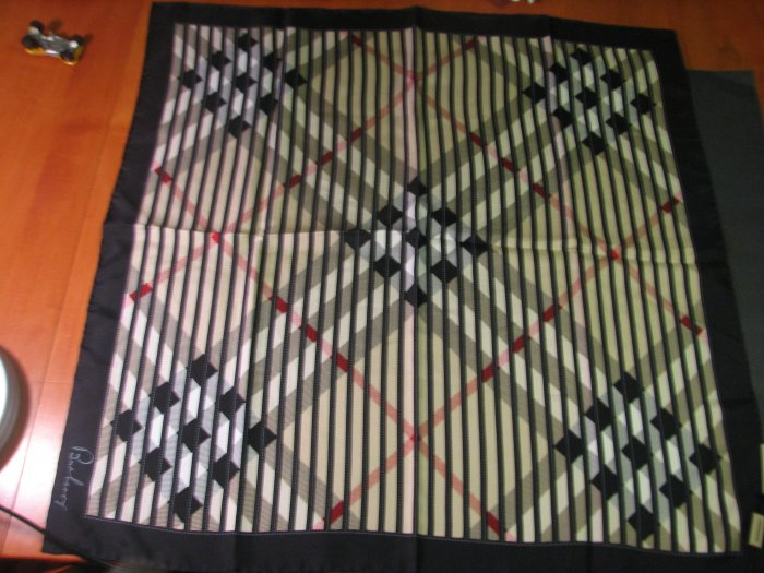 NWT  Auth. Burberry 100% Silk Scarf w/ Black Border